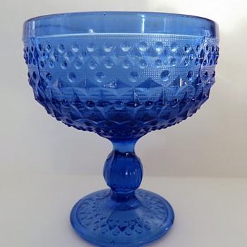 Pressed Blue Glass Footed Dish - Zabkowice glass Poland - Glassware