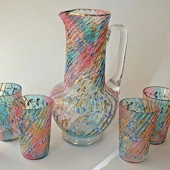 Victorian Bohemian RAINBOW Enamel Art Glass Pitcher + Tumbler Set  - Art Glass
