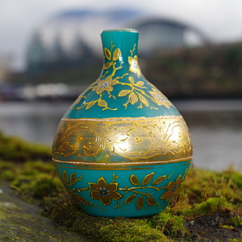 TURQUOISE GILDED MINATURE GLASS BOTTLE  - Art Glass
