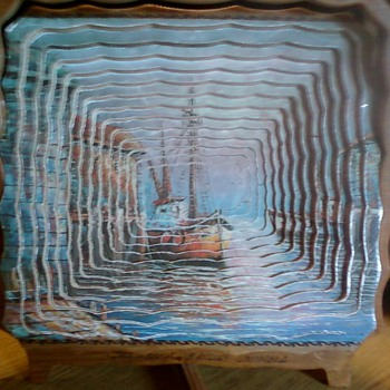 WOODEN SPIRAL CUT PORTRIAT OF TWO BOATS  - Folk Art