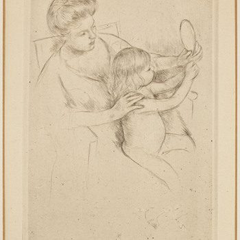 "Mary Cassatt 1905 Drypoint - ""Looking into the Hand Mirror, No. 2"" - Art Nouveau"