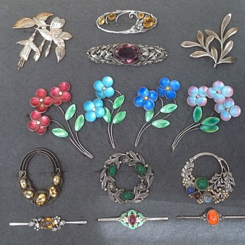 Collection of Bernard Instone Brooches - Art Deco
