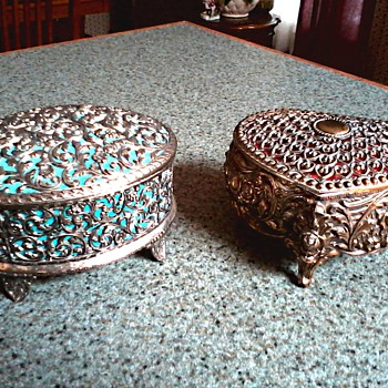 Two More White Metal Jewelry Boxes /Silver Oval and Gold Heart Shaped Filigree/Unknown Maker and Age - Fine Jewelry