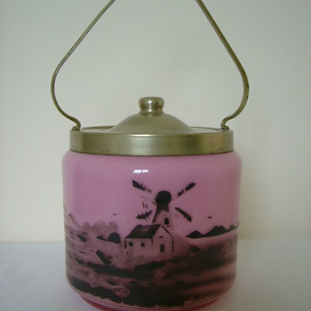 Czech Art Deco Tango Glass Biscuit Barrel - Art Glass