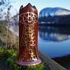 RINDSKOPF AVENTURINE ARTS & CRAFTS WITH COPPER OVERLAY TRICORN GLASS VASE