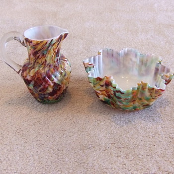 Art glass cream pitcher and waste bowl - Art Glass