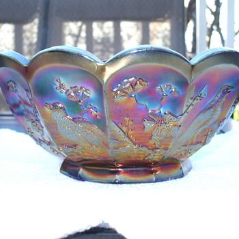 Northwood Singing Birds Blue Master Berry Bowl - Glassware