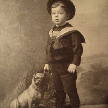 Cracker Jack Box Boy and His Pug Dog on a Cabinet Card - Photographs