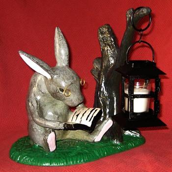 Reading Rabbit With Lantern - Animals