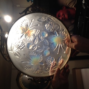Old Opalescent Platter with Ormolu Frame and Handles- Need Help - Art Glass