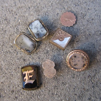 More old 1900's-1960's cufflinks, buttons and 2 favorite tie clips