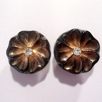 West Germany glass flower earclips - Costume Jewelry