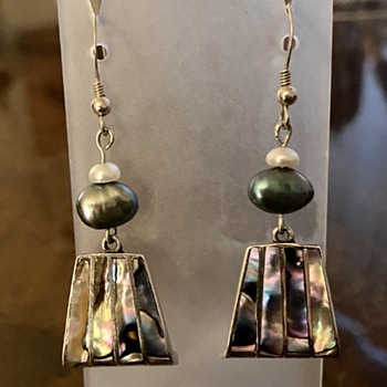 Paua Shell / Abalone Earrings from Mexico 1950's - Fine Jewelry