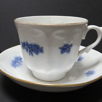 Antique Lilac Sprigged or Chelsea Blue Cup and Saucer - China and Dinnerware