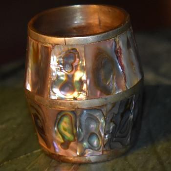 MOP Inlaid Brass Shotglass? - Mid-Century Modern