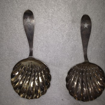 Pair of Coin Silver Tea Strainers- Marked J A Morlenhoff - Silver
