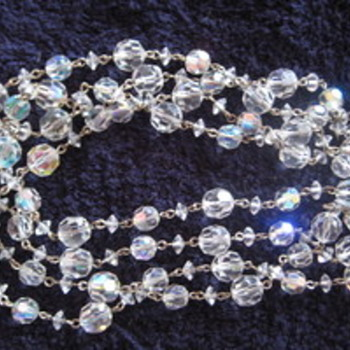 VINTAGE Opera Length Cut Crystal Bead Necklace & Earrings - Costume Jewelry