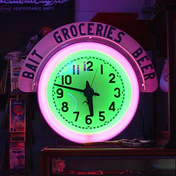 Electric Neon Clock Company...Two Colors...Cut Out Wood Letters In Top Sign...Bait...Groceries...Beer - Advertising