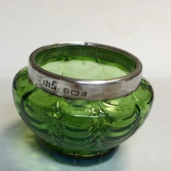 Art glass salt, silver rim - Art Glass