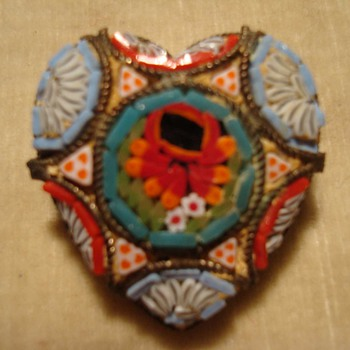 Micromosaic Heart Pin - Fine Jewelry