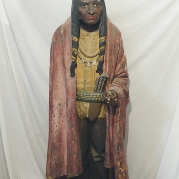 Paper Mache American Indian Statue - Fine Art