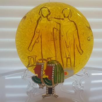 DeNicola Gemini brooch, Blenko Glass Gemini paperweight  - Art Glass