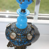 VTG  Blue glass decanter with metal  and small pics