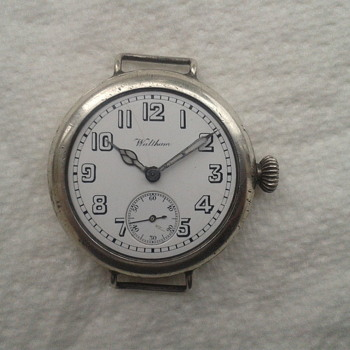 Waltham 1915 WW1 silver wrist watch, Harold G. Hiley. - Wristwatches