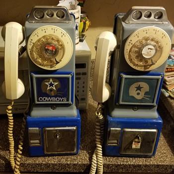 Pair of cowboy pay phones - Football