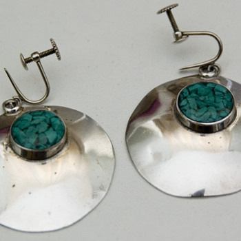 1960's/1970's Sterling Silver Modernist Earrings - Costume Jewelry