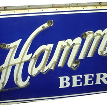 Hamms outdoor 2 sided porcelain neon - Breweriana