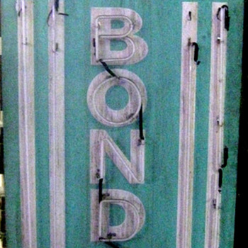 Vintage 1970's MAX'S BAIL BONDS Antique Neon Wood Sign Tall - Signs