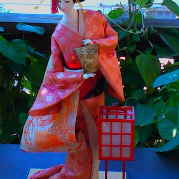 Geisha doll rescue; andon lamp dancer with uchiwa fan    - Dolls