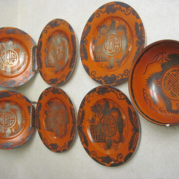ID Help Plz For Eiraku Eggshell Porcelain Japanese Red & Silver Dragon Dishes - Asian