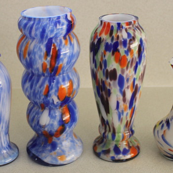 A range of pre war Japanese glass vases - Art Glass