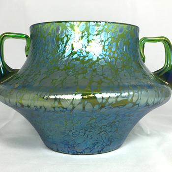 "Loetz ""Crete Papillon"" Bowl with Handles. PN-II 261. (Com. 346/388) Circa 1900. 5.5"" tall - Art Glass"