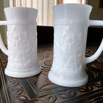 Vintage milk glass drinking mugs beer steins with embossed design, Federal Glass Co. - Glassware
