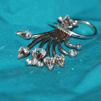 Jay Flex Sterling and Rhinestone Brooch - Fine Jewelry