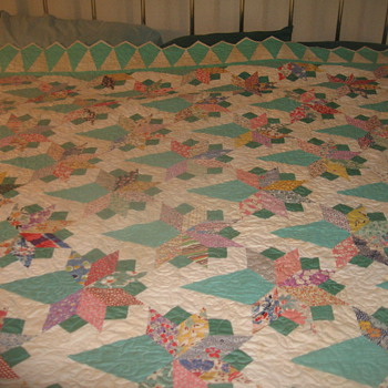 wedding bouquet quilt, 9 foot by 8 foot, fits king size bed.. the backing and border have been done 2011, boquets hand done. - Folk Art