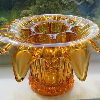 Sowerby Large Glass Vase - Iris Pattern - Glassware