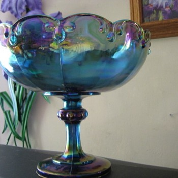 Indiana Glass  Blue Teardrop Compote / bowl - Glassware