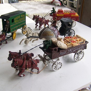 Estate Find Cast Iron Horse Driven wagons - Toys