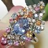 Huge Unheated Ceylon Sapphire Diamond Ring
