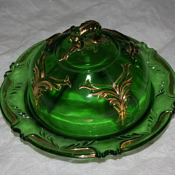 Green Glass Butter Dish - Glassware