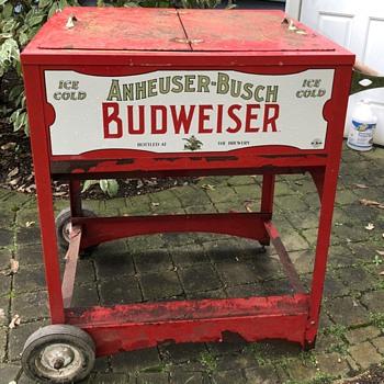 Anheuser-Busch Budweiser Push Cart Ice Chest - Breweriana