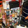 Delco battery display and oil cans