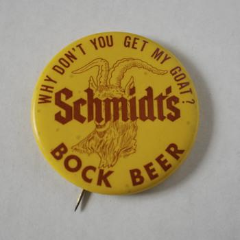 Scmidt's Bock Beer Pin and a Marlboro Cigarettes Matchbox