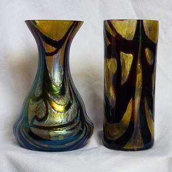 Kralik Burgundy & Gold Vases - Art Glass