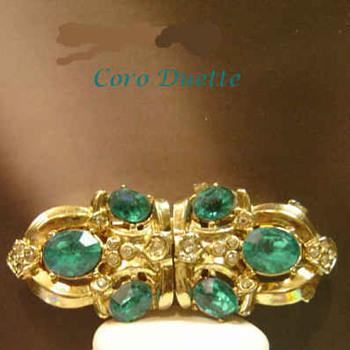 Awesome Aqua Rhinestones 1940's Coro Duette All signed  - Costume Jewelry