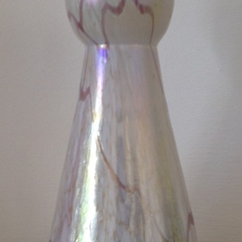 Amethyst threaded iridescent white spatter - hallmarked 1905 - Art Glass